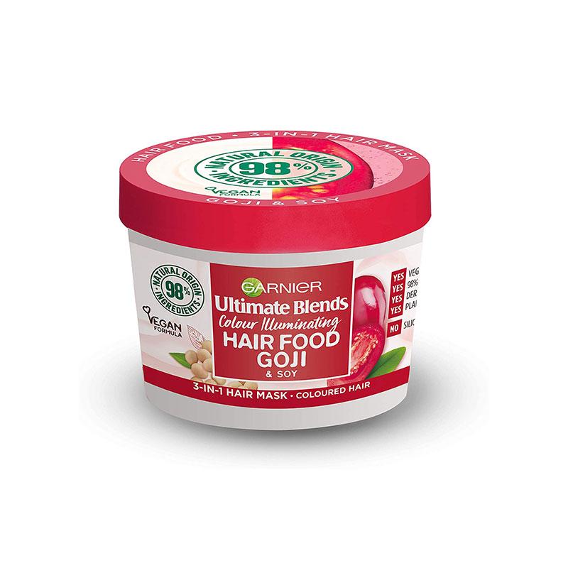 Garnier Ultimate Blends Colour Illuminating Hair Food Goji & Soy 3 In 1 Hair Mask 390ml