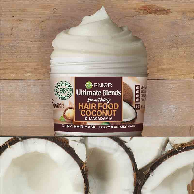 Garnier Ultimate Blends Smoothing Hair Food Coconut & Macadamia 3 In 1 Frizzy And Unruly Hair Mask 390ml