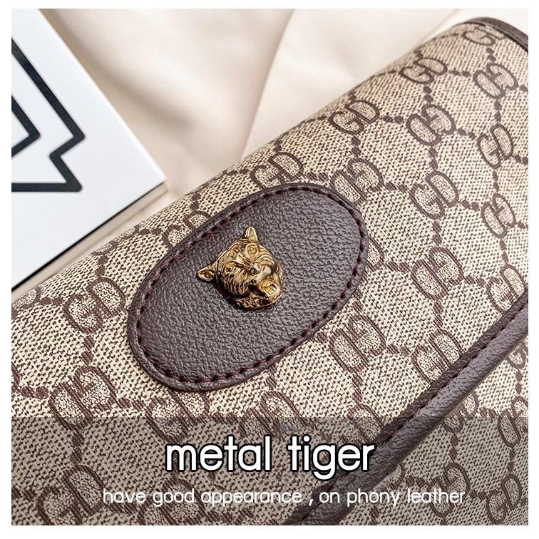 GD Lady Magnetic Buckle Shoulder Bag - Chocolate