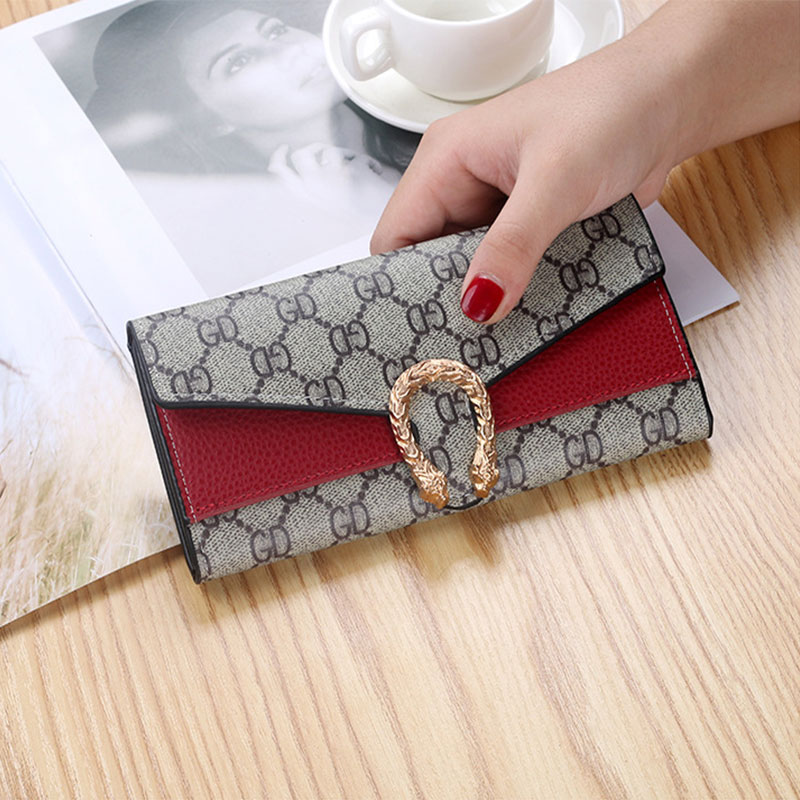 Gold Metal Multi Card Position Large Wallet