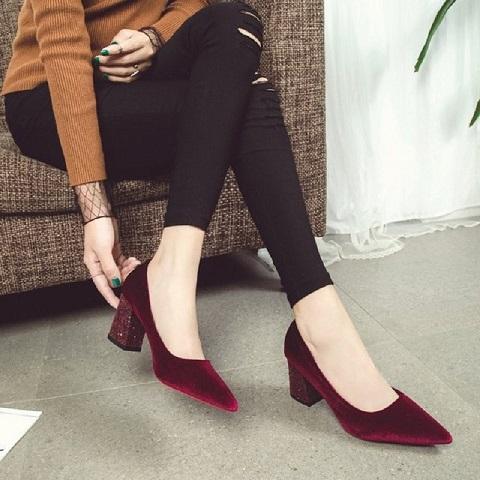 Women Classic Velvet Block High Heels