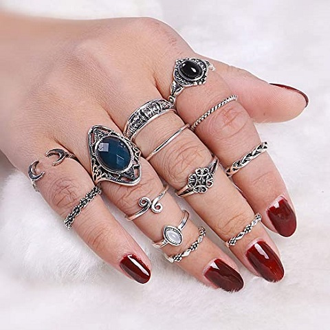 Hollow Carving Crescent Moon Women Vintage Knuckle Nail Midi Rings Set - 13pcs