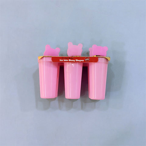 Homemade Bear Popsicle Ice Cream Stick - Round Shape Pink