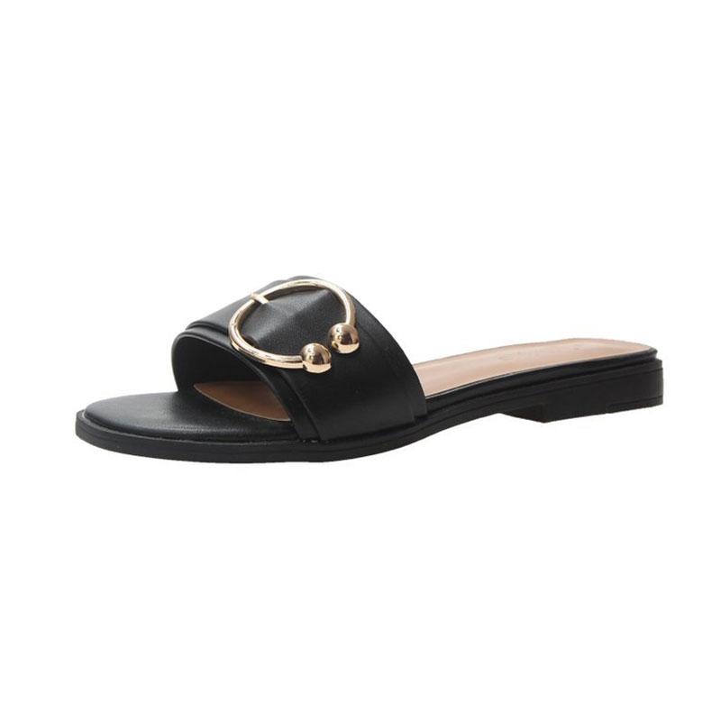 Hong Kong Style Wild Social Slipper Sandals - Black