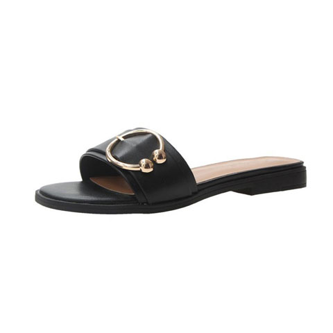Hong Kong Style Wild Social Slipper Sandals - Black