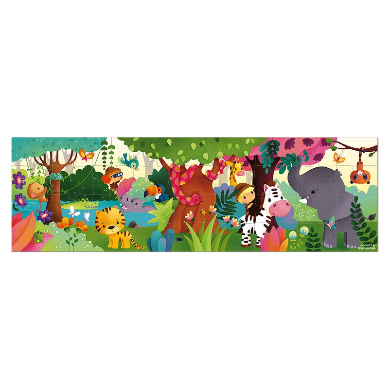 Janod Hat Boxed Panoramic Puzzle Jungle 36 Pieces