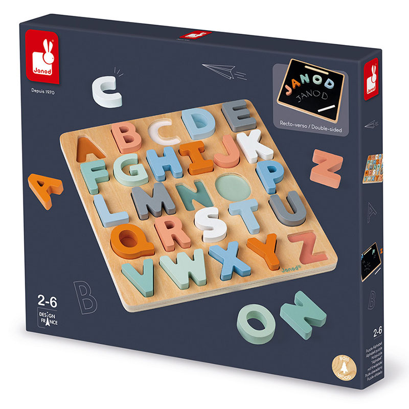 Janod Sweet Cocoon Alphabet Puzzle Wooden Toy & Blackboard