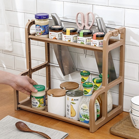 Kitchen Seasoning Double Storage Shelf