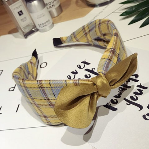Korean Knotted Check Pattern Hair Band - Yellow