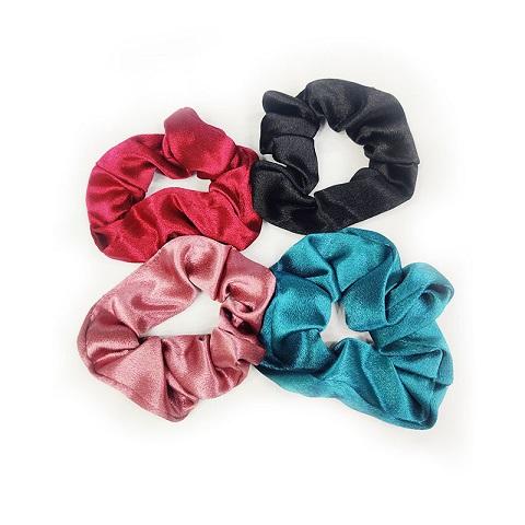 Korean Silk Scrunchie Style Hair Band Set - 4Pcs