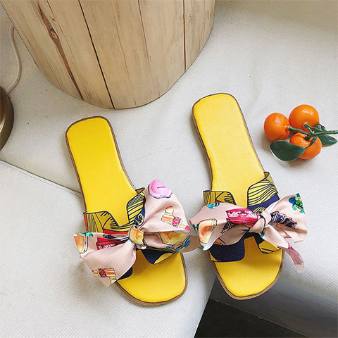 Korean Version Bow Flat Slippers