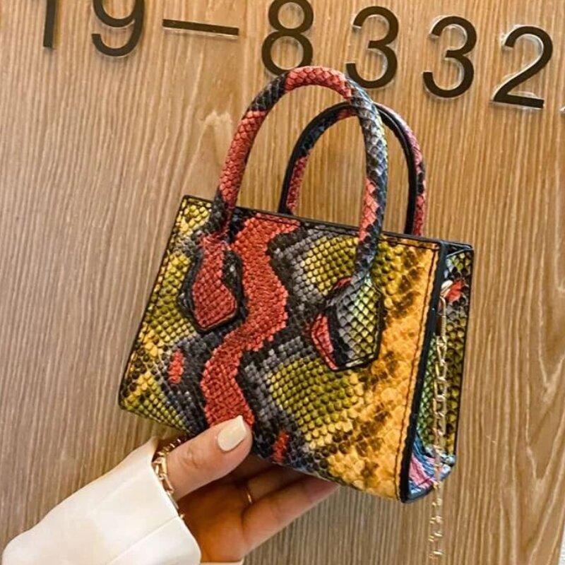 Ladies Mini Snakeskin Chain Decor Satchel Bag