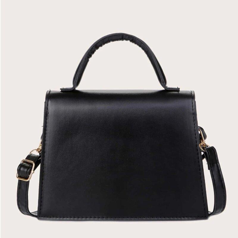 Ladies Simple Chain Decor Flap Satchel Bag (1001001)