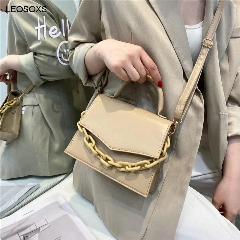 Ladies Simple Chain Decor Flap Satchel Bag (1001002)