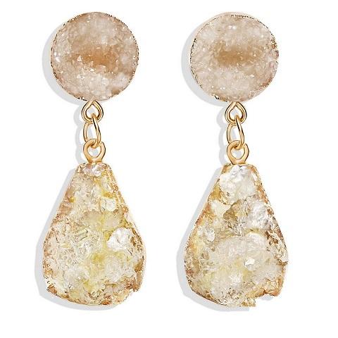 Large Quartz Druzy Stone Earrings