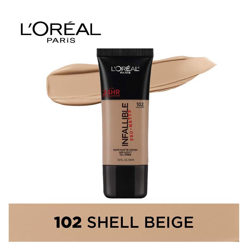 L'Oreal Paris Infallible Pro-Matte Foundation 30ml - 102 Shell Beige
