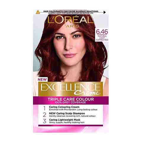 L'Oreal Excellence Cream Triple Care Hair Colour - Natural Light Copper Red 6.46