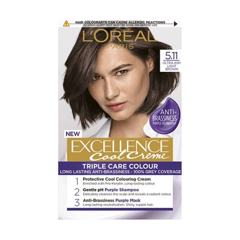 L'oreal Paris New Excellence Cool Creme Anti-Brassiness Permanent Hair Colour - 5.11 Ultra Ash Light Brown