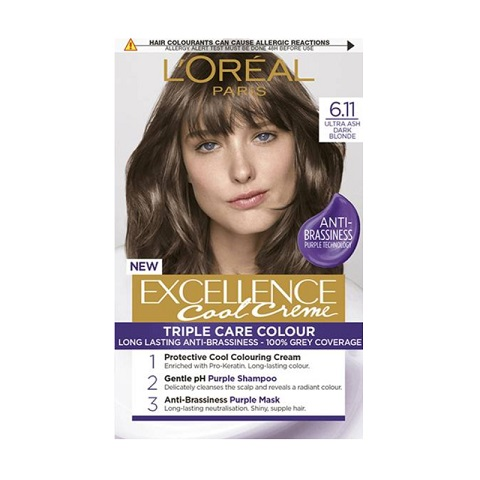 L'oreal Paris New Excellence Cool Creme Anti-Brassiness Permanent Hair Colour - 6.11 Ultra Ash Dark Blonde