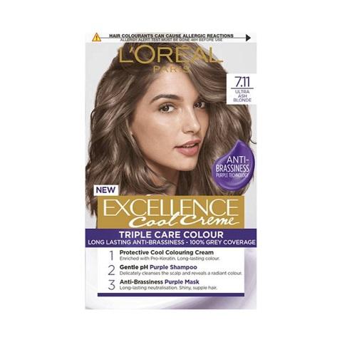 L'oreal Paris New Excellence Cool Creme Anti-Brassiness Permanent Hair Colour - 7.11 Ultra Ash Blonde
