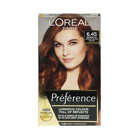 L'Oreal Paris Preference Luminous Permanent Hair Colour - 6.45 Intense Copper Auburn