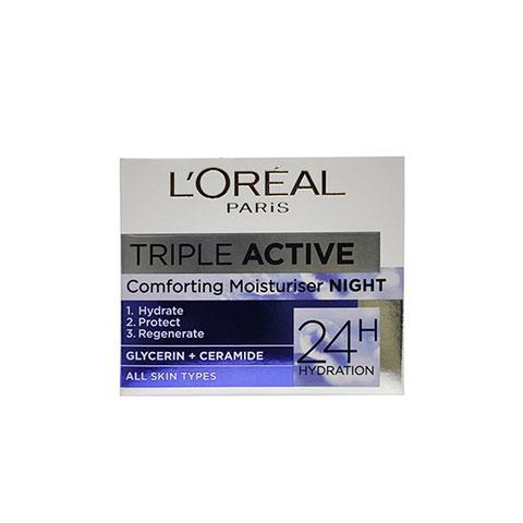 L'Oreal Paris Triple Active Comforting Night Moisturiser Cream For All Skin Types 50ml
