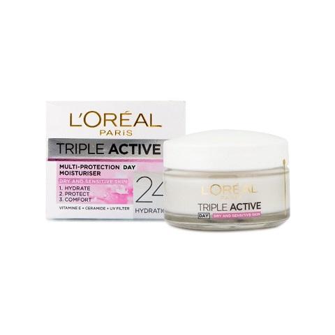 L'Oreal Paris Triple Active Day Multi Protection Moisturiser Dry and Sensitive Skin 50ml