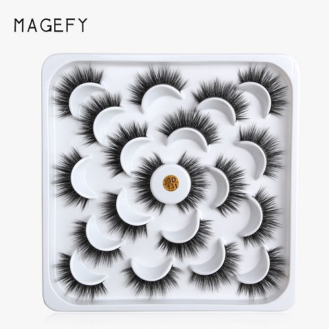 Lotus Plate 3D Mink Natural Thick False Eyelashes 9 Pairs - 3D131