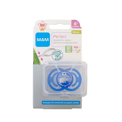 MAM Perfect Silicone Soother With Steriliser Box 6m+ - Deep Blue