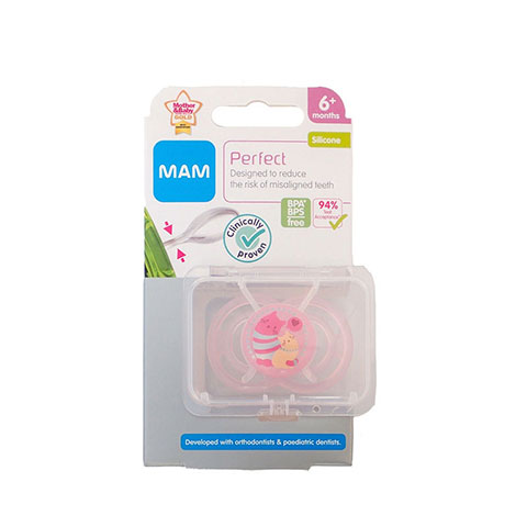 MAM Perfect Silicone Soother With Steriliser Box 6m+ - Pink