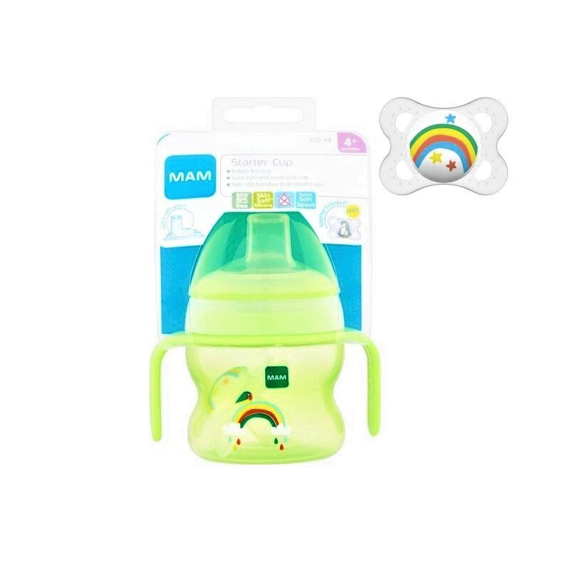 Mam Starter Cup 4+M 150ml With Handles & Soothers - Green