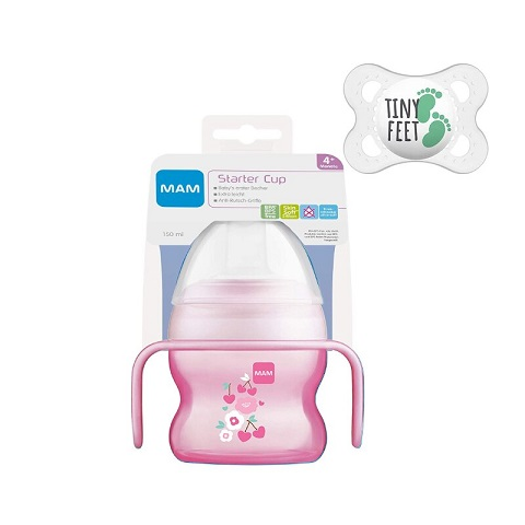 Mam Starter Cup 4+M 150ml With Handles & Soothers - Pink