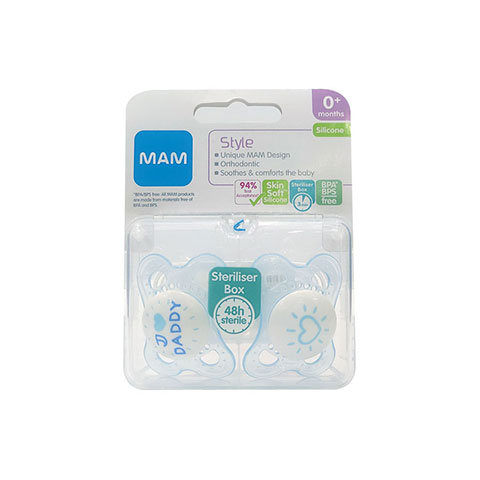 MAM Style Silicone Soothers With Steriliser Box 0m+ - I Love Daddy (Blue)