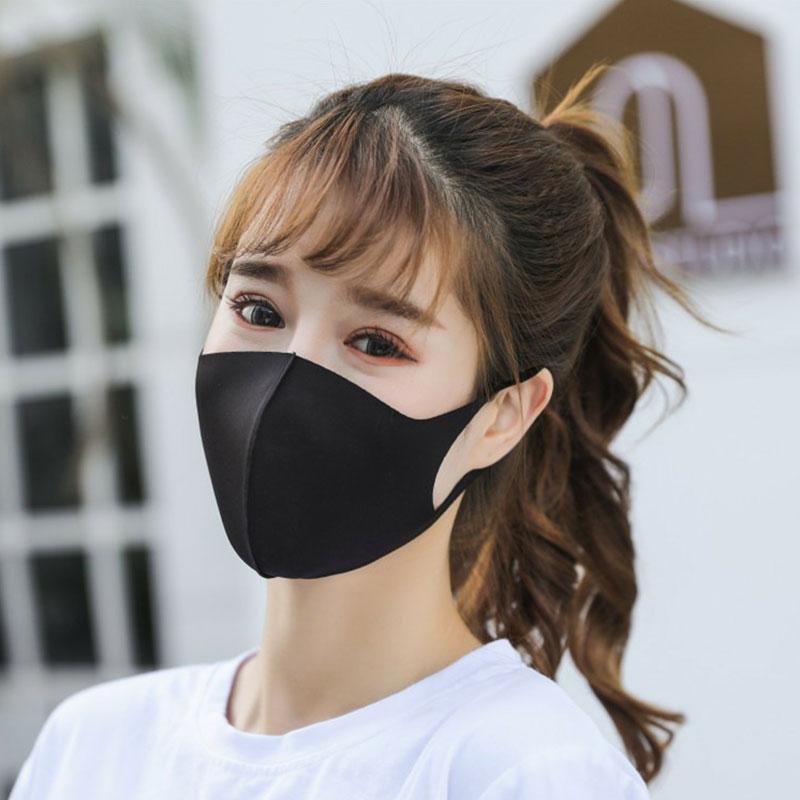 Men and Women Reusable Ice Silk Face Mask - Black