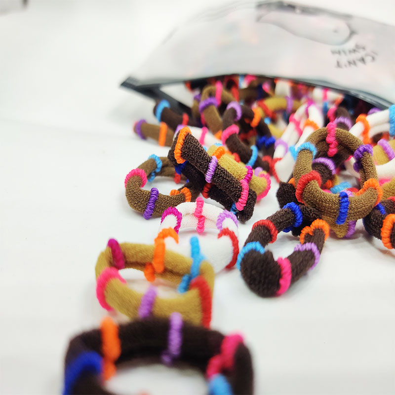 Multi Candy Color Elastic Striped Ring Hair Bands