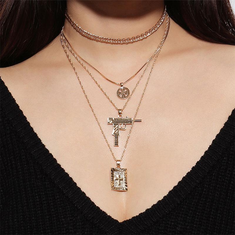 Multi Element Cross Multi Layer Clavicle Necklace