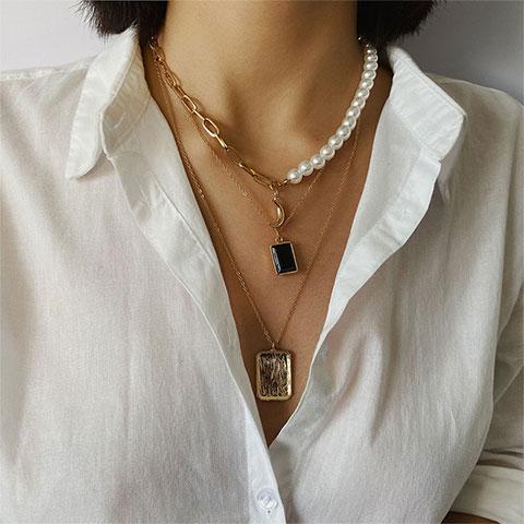 Multi Element Item Imitation Pearl Necklace