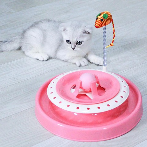 Multilayer Turntable With Spring Mouse Cat Toy  (20214)