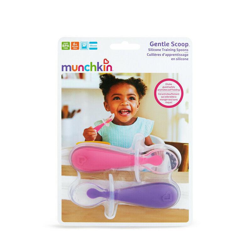 Munchkin Gentle Scoop Silicone Training Spoons Pink & Purple 6m+ (2208)