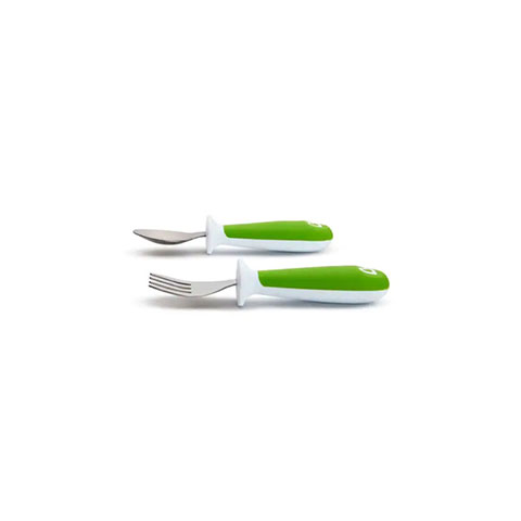 Munchkin Raise Toddler Fork & Spoon Set - Green