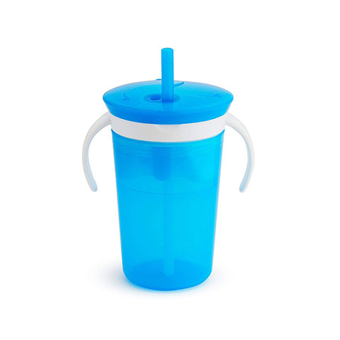 Munchkin Sippy Straw Cup And Snack Catcher 12m+ 266ml - Blue (0860)