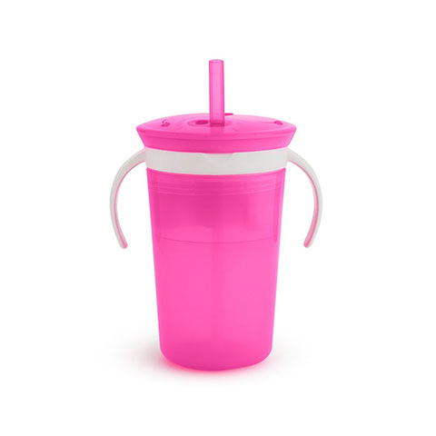 Munchkin Sippy Straw Cup And Snack Catcher 12m+ 266ml - Pink (0860)