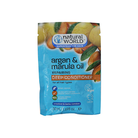 Natural World Argan & Marula Oil Repairing Deep Conditioner For All Hair Types 50ml