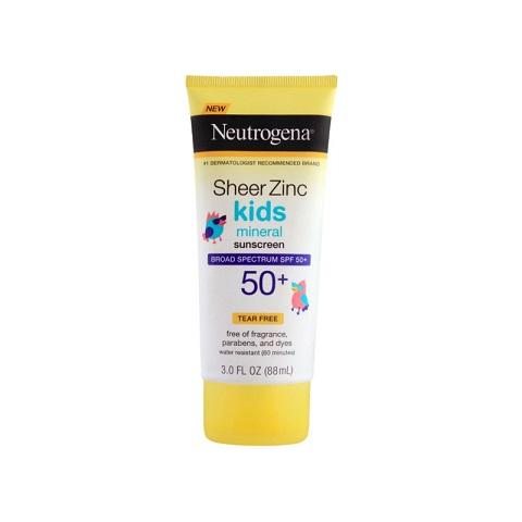 Neutrogena Sheer Zinc Kids Mineral Sunscreen 88ml - Spf 50+