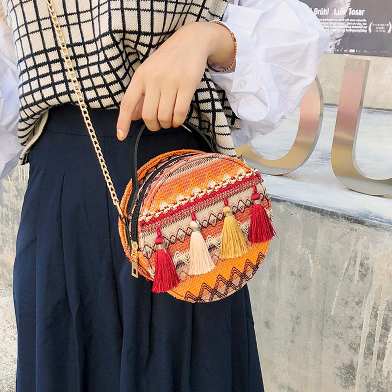New Fairy Tassel Portable Small Round Bag