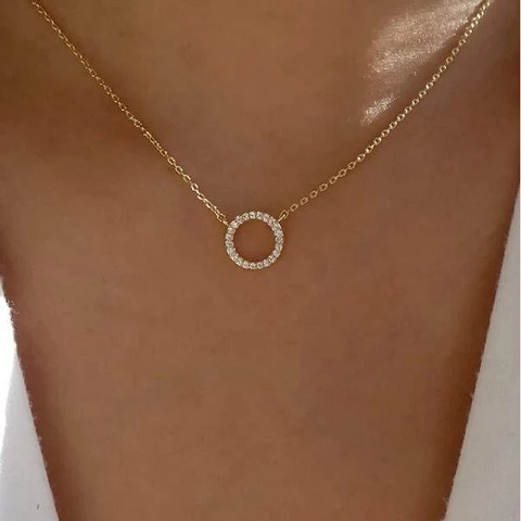 New Geometric Type Clavicle Chain Ring Necklace (20132)