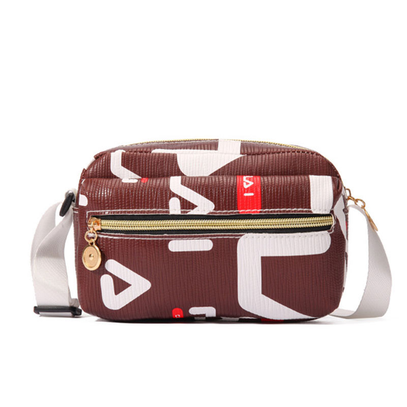 New Arrival Front Zip Patterned Ladies Square Small Bag