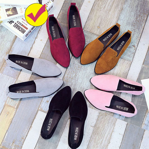 New Solid Color Pointed Low-Heeled Loafer