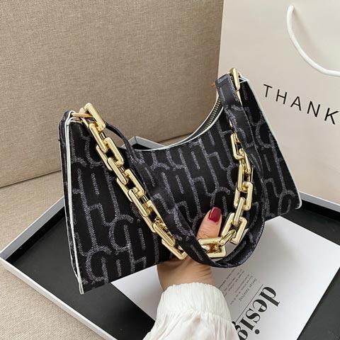 Ladies Trendy Style Small Chain Bag - Black