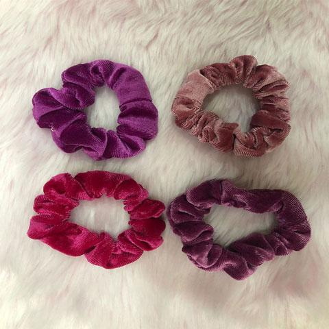 New Velvet Hair Rubber Band 4pcs Set - Pink